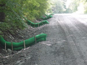 Compost sock installation on the upper portion of Prickly Mountain Road, Warren.