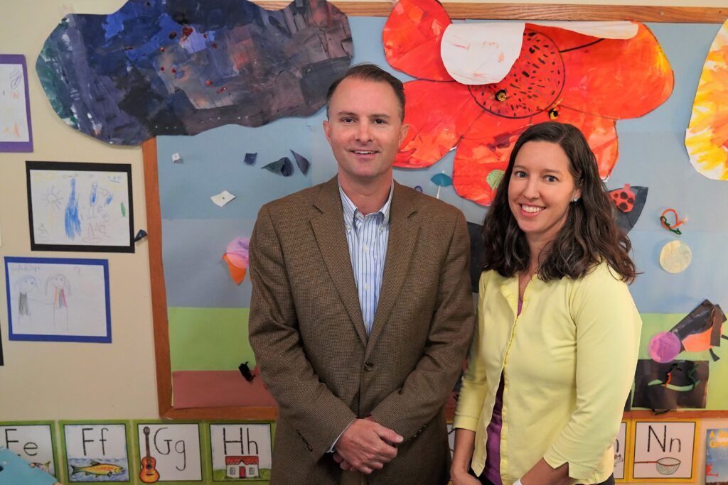 Attorney General T.J. Donovan with Samara Mays at the Montpelier Children's House