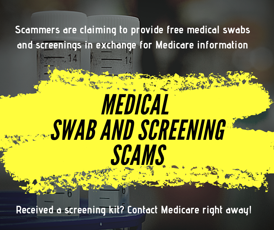 Medical swab and screening scams poster