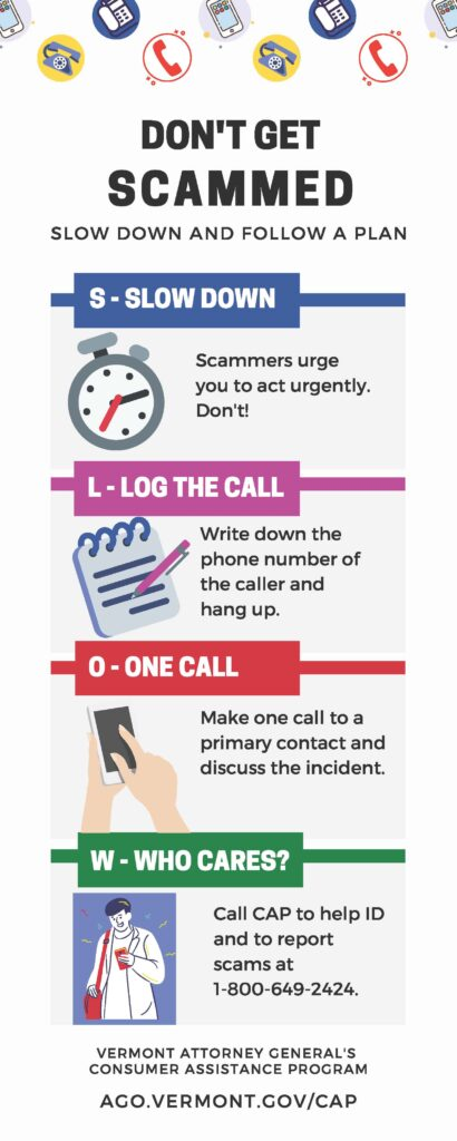 Don't Get Scammed: Slow Down and Follow A Plan: Slow Down, Log the Call, make One Call to a primary contact, report to Who Cares; CAP cares, call 800-649-2424.