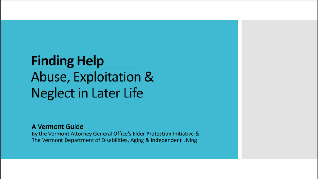 Finding Help: Abuse, Exploitation & Neglect in Later Life - link to guide