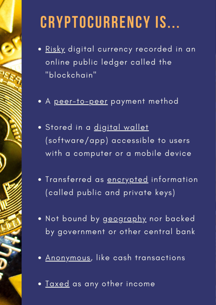 """Cryptocurrency is...Risky digital currency recorded in an online public ledger called the """"blockchain""""  A peer-to-peer payment method  Stored in a digital wallet (software/app) accessible to users with a computer or a mobile device  Transferred as encrypted information (called public and private keys)  Not bound by geography nor backed by government or other central bank  Anonymous, like cash transactions  Taxed as any other income"""