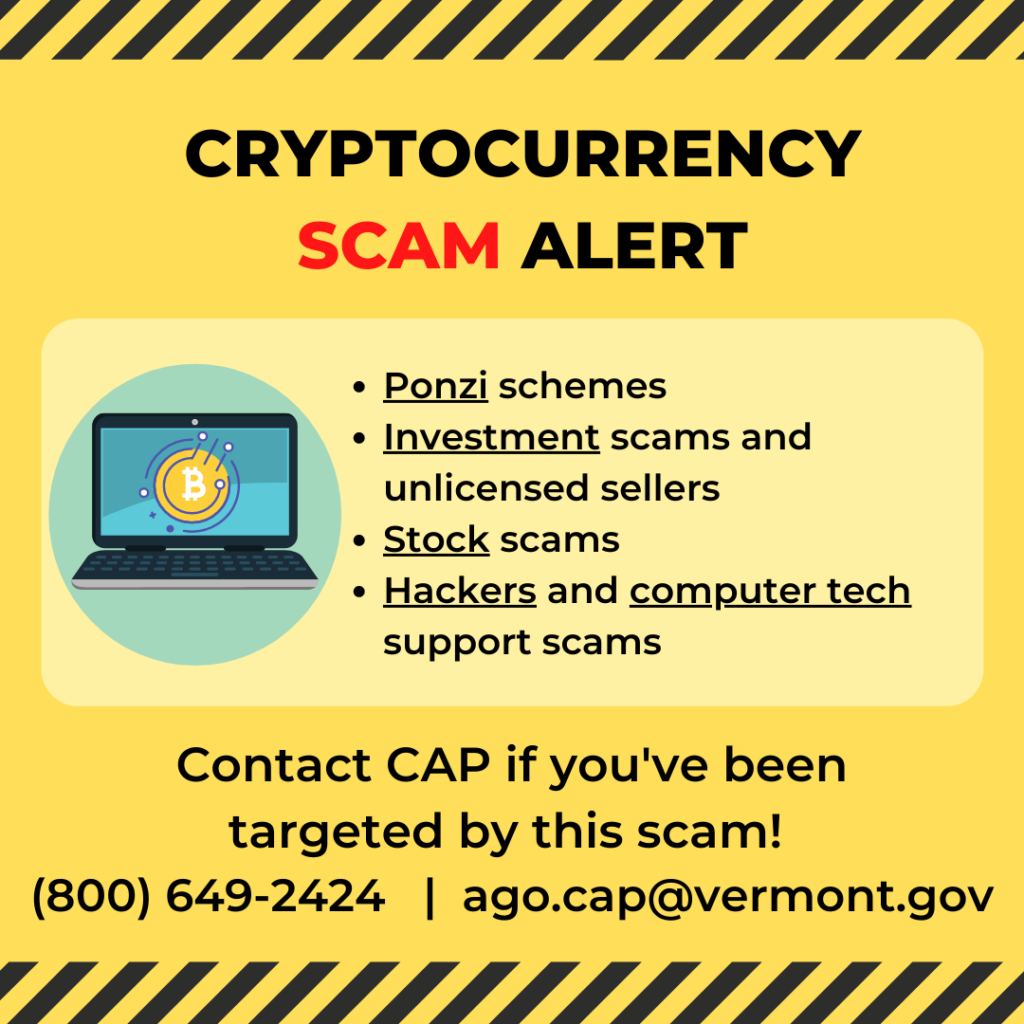 Cryptocurrency scam alert: Ponzi schemes, investment scams and unlicensed sellers, stock scams, hackers and computer tech support scams