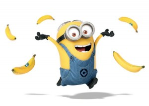 Minion throwing bananas in celebration