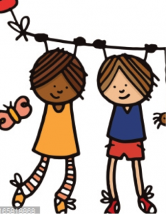 Cartoon of two friends hanging on a wire together