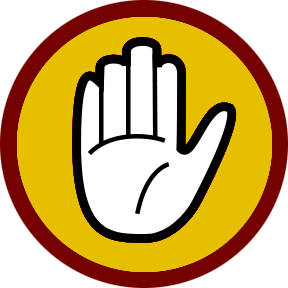 Sign with hand making caution signal