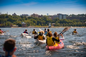 Students kayaking in Lake Champlain