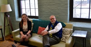 John Evans and Gretta Groves on Couch at VITL