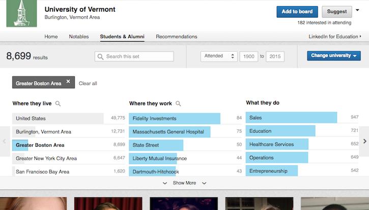 Screenshot of Find Alumni Tool