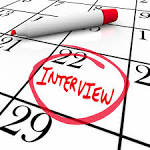 Interview circled on calendar date