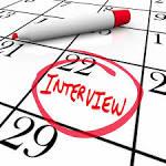 Interview circled on calendar date