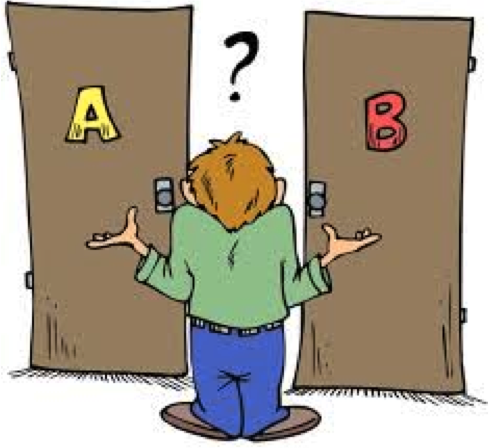 Person in front of doors A and B with a question mark overhead
