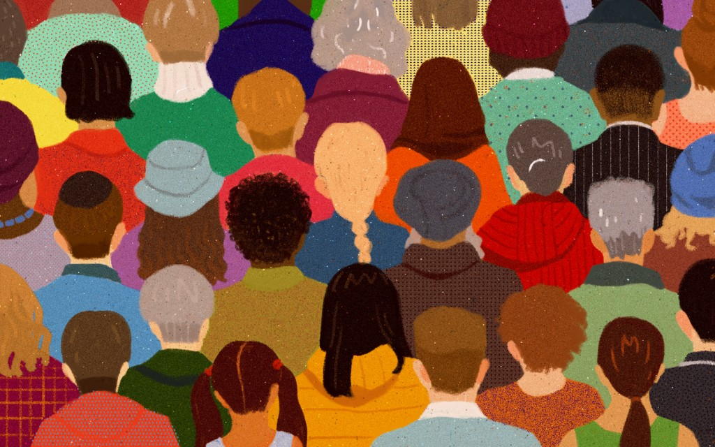 Painting of diverse people from behind their heads
