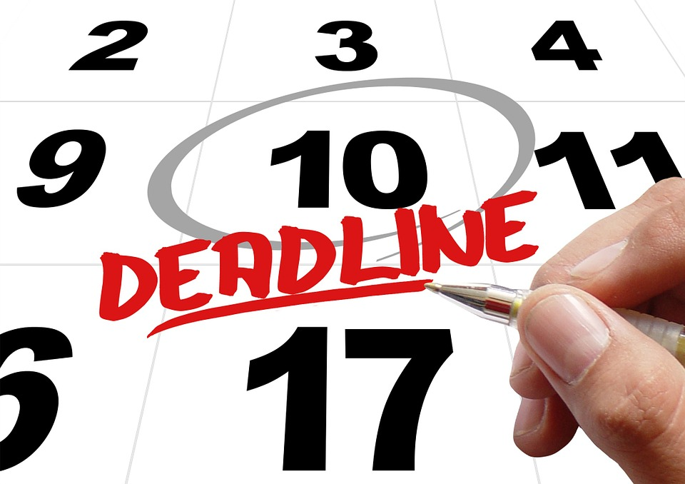 Deadline circled on calendar