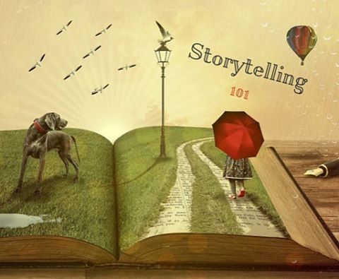 Book open, displaying word storytelling
