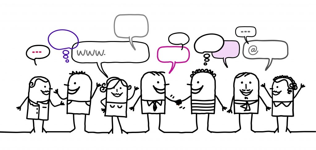 drawing of people meeting and talking