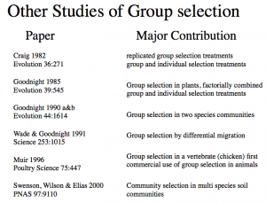 Other studies of group selection