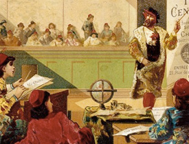 illustration of a classroom centuries ago