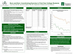 Slide: Burn and Earn: Incentivizing Exercise in First-Year College Students