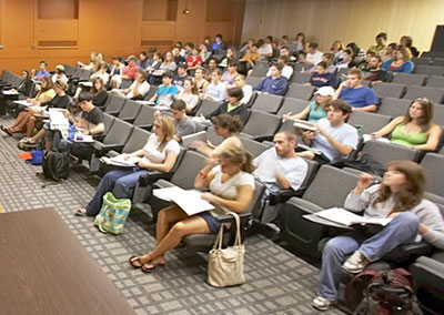 Students in a lecture hall at UVM