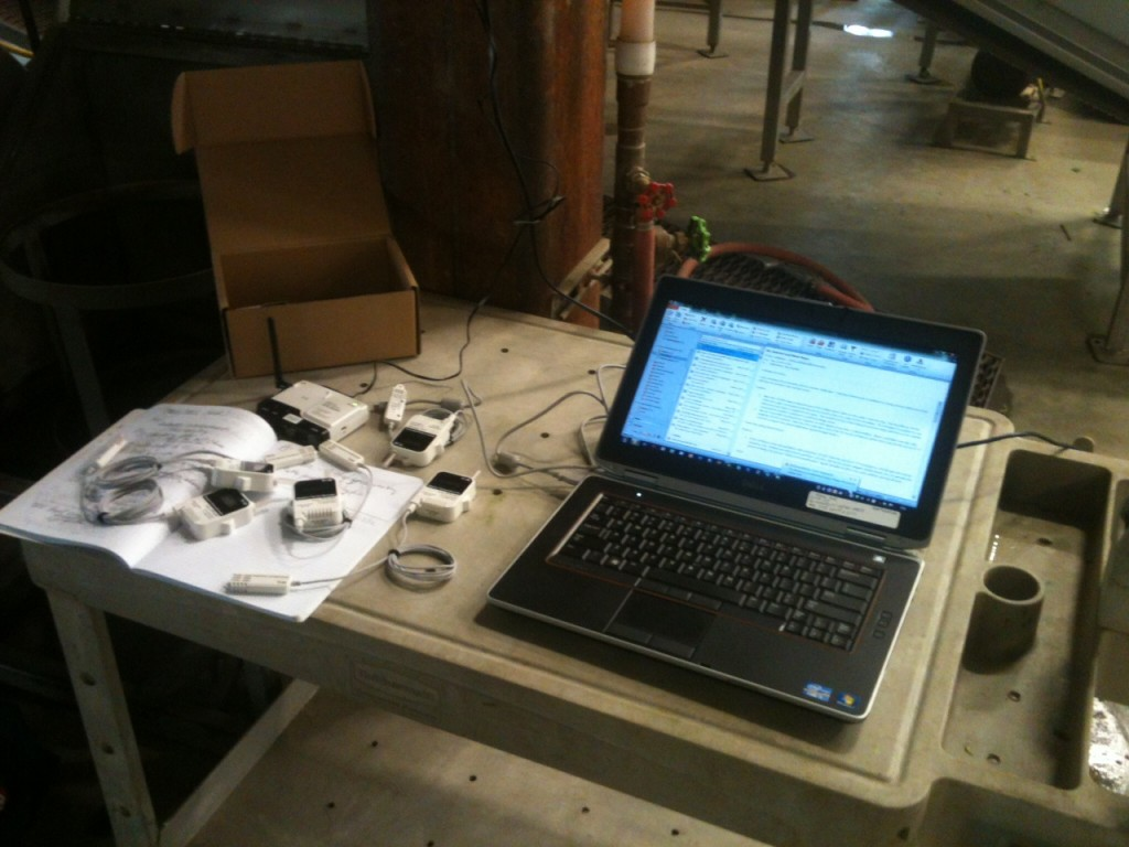 The items to the left of the laptop are the remote data logging system.  Each of the five sensors can measure temperature and relative humidity over a wide range and report it back to the base station which uploads it to a website for review.  Alarms can be set to alert users if conditions exceed high or low limits.