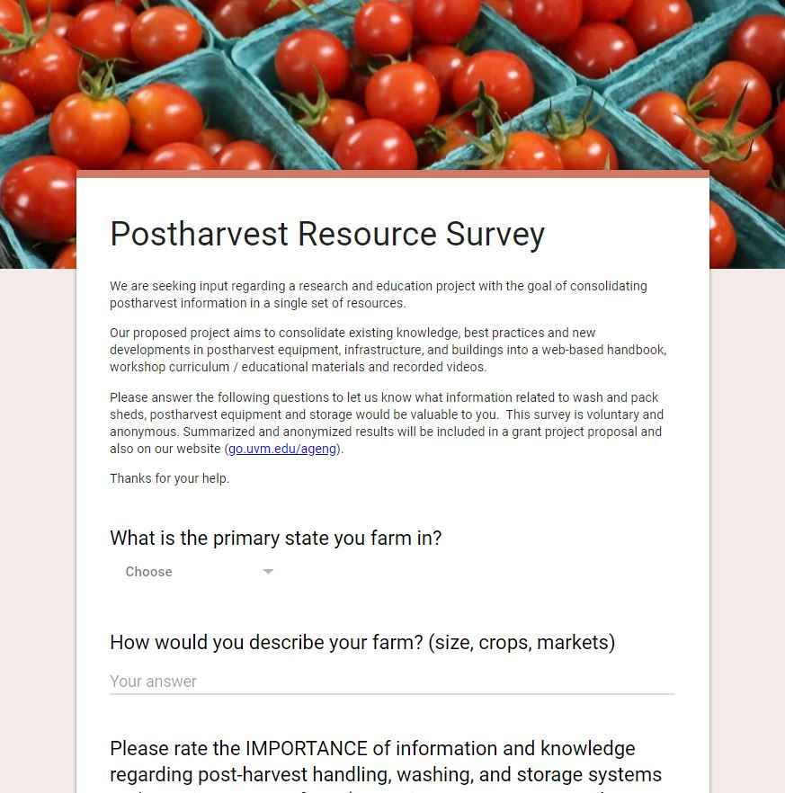 Postharvest Resource Survey