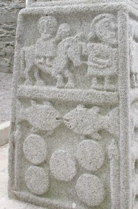 Moone high cross, Flight into Egypt, Loaves and Fishes