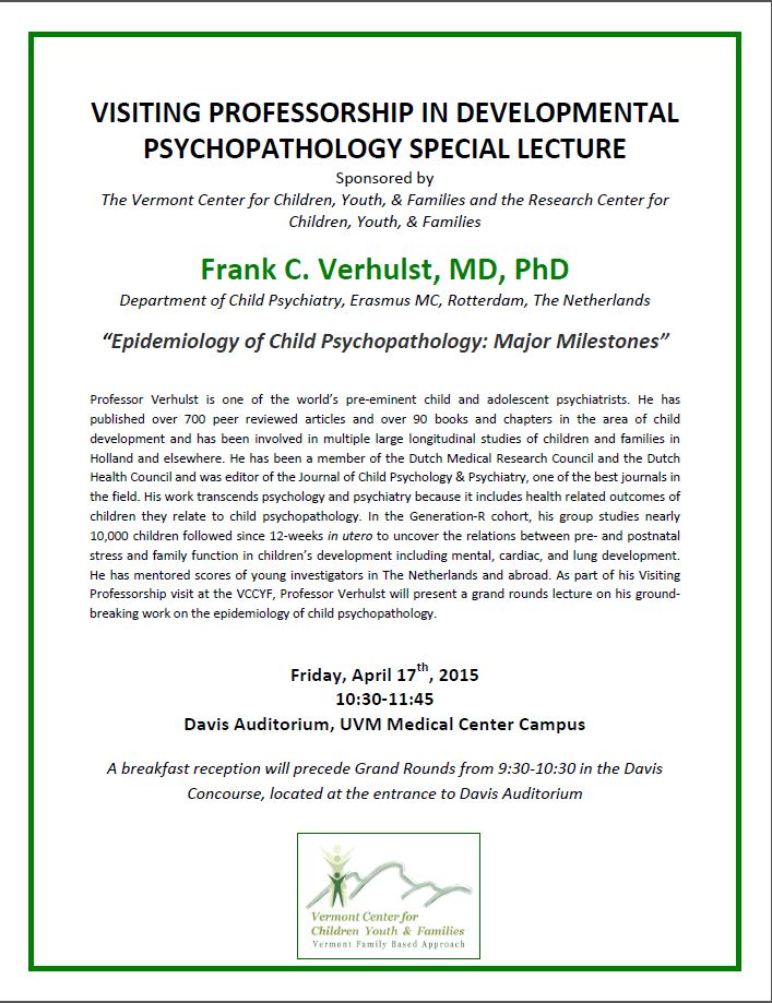 1st Developmental Psychopathology Special Lecture Tomorrow