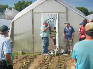 Trevor Hardy of Brookdale Fruit Farm discusses drip irrigation systems at UVM Extension workshop