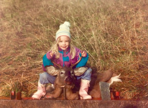 Shelby and one of her dad's bucks sometime in the early 90's.