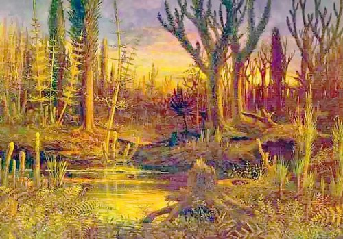 "Artist's rendering of a Carboniferous swamp. From ""The World Before the Deluge"" by Eduard Riou, 1872. Public domain work of art."