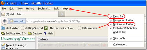 Firefox menu bar and bookmarks toolbar