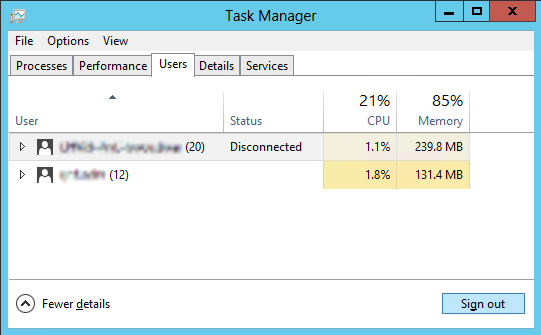 Displaying user logon sessions in Server 2012 Task manager