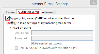 Outlook 2013 Setup - Internet Email Settings - Outgoing Server tab