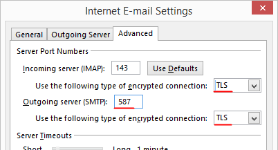 Outlook 2013 Setup - Internet Email Settings - Advanced tab