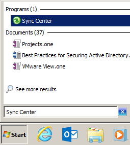 "Image shows the Windows 7 search box with the words ""sync center"" as the search terms, and the sync center control panel selected from among the results."