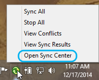 Menu for the Sync Center icon in the Windows system tray.