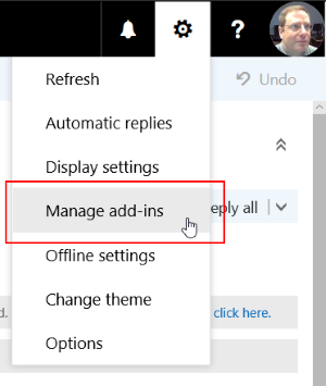 "Image of the options menu in OUtlook for web, with the ""manage add-ins"" item highlighted."