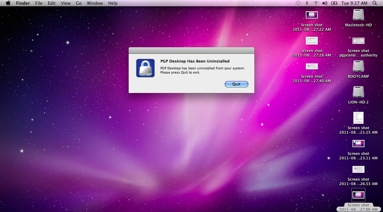PGP uninstall