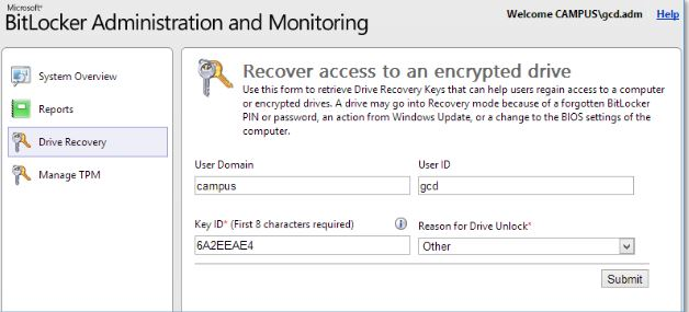 Account Services Key Recovery procedure