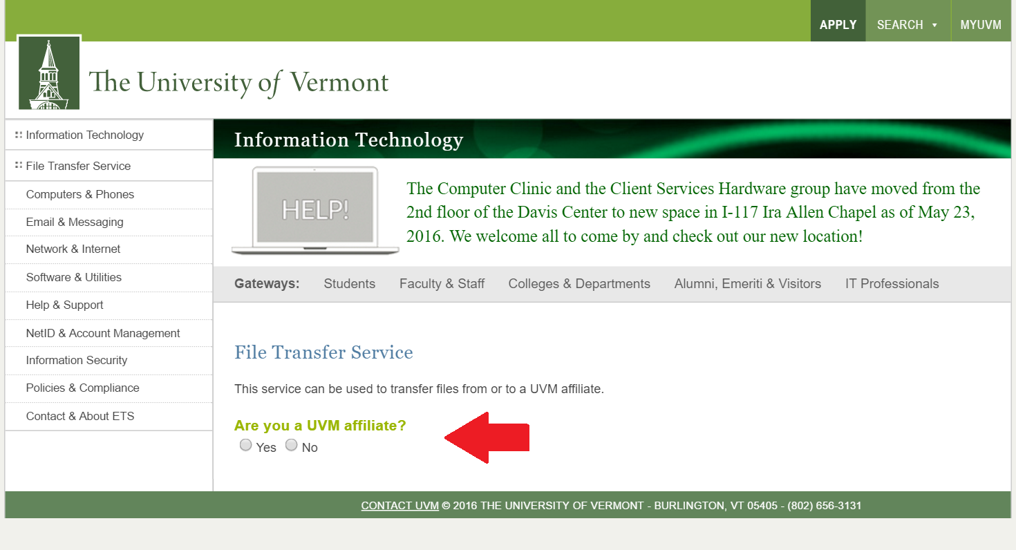 Selection of affiliation when logging into file transfer service