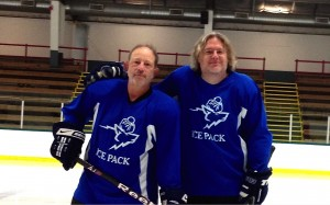 Zdatny and Stilwell before a game at Leddy Park Rink.  Their team won in a shoot-out 3-2.