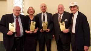 "The four recipients of the ""Distinguished Achievement Award"" posing with Theodore Zev Weiss, who is a Holocaust survivor and the founder of the Holocaust Educational Foundation. Weiss is on the right; Professor Nicosia is third from the left in the picture."