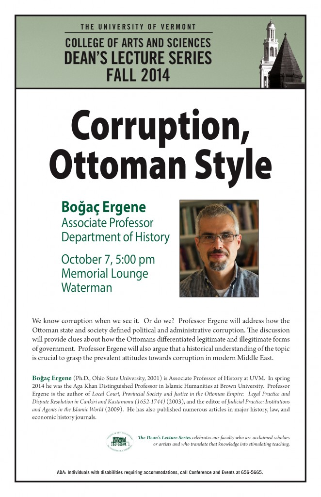 October 7: Dean's Lecture by Professor Bogac Ergene