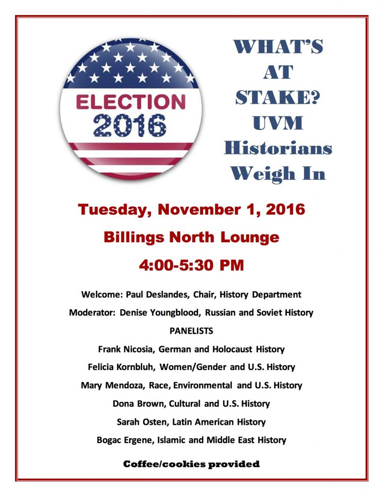 NEXT WEEK: UVM historians discuss the election
