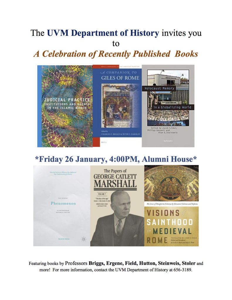 Save the date: History department book celebration this week
