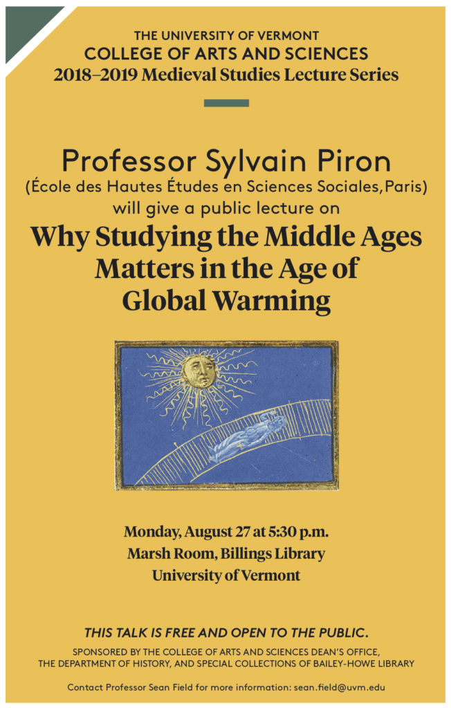 Save the Date: lecture by Professor Sylvain Piron, Aug 27