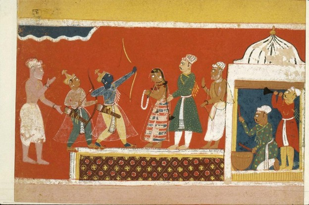 Rama Breaks The Bow, from a Ramayana manuscript (Bala Kanda).