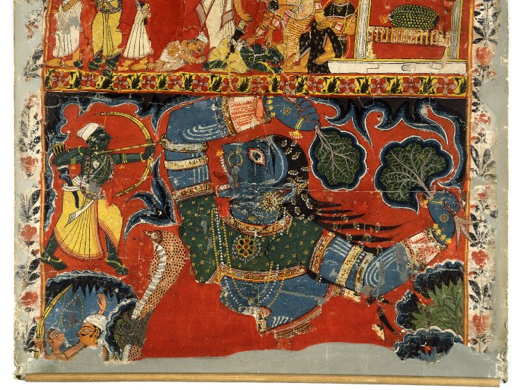 Rama battling the demoness Tataka. 19thC. Murshidabad district, West Bengal, India.
