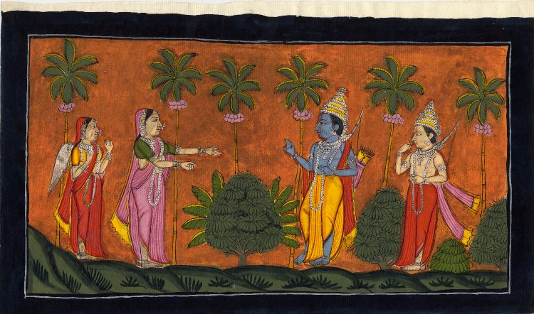 Surpanakha offering marriage to Rama and Laksmana. 1800-1805. Pune District, Maharashtra, India.